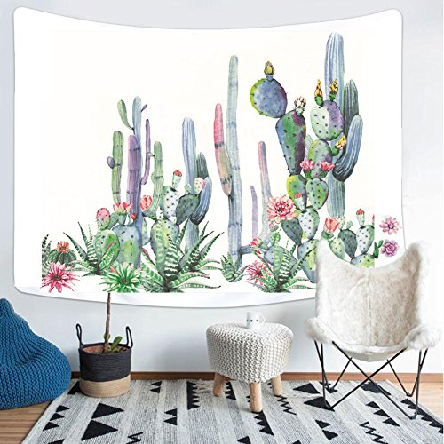 Third Goddess Cactus Tapestry, Watercolor Printed Nature Large Tablecloths Wall Tapestry 50 x 60 Home Decor & Gift