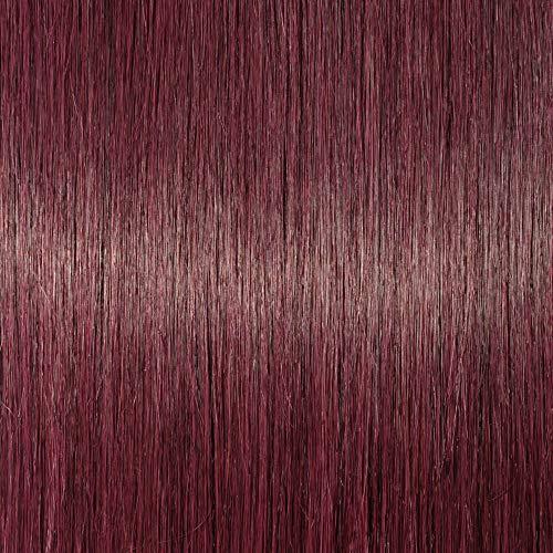 Elailite Extensiones de Clip de Pelo Natural Rizado Cabello Humano Ondulado Doble Volumen 8 Piezas Gruesas Largas 45cm (140g) #99J Rojo Borgoña
