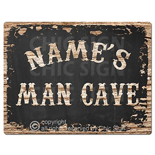 Name's Man CAVE Custom Personalized Tin Chic Sign Rustic Vintage Style Retro Kitchen Bar Pub Coffee Shop Decor 9'x 12' Metal Plate Sign Home Store Man cave Decor Gift Ideas