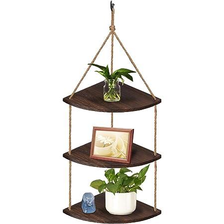 TJ.MOREE Étagère d'angle à suspendre à 3 niveaux pour fenêtre - Décoration de cuisine rustique - En bois - Marron foncé
