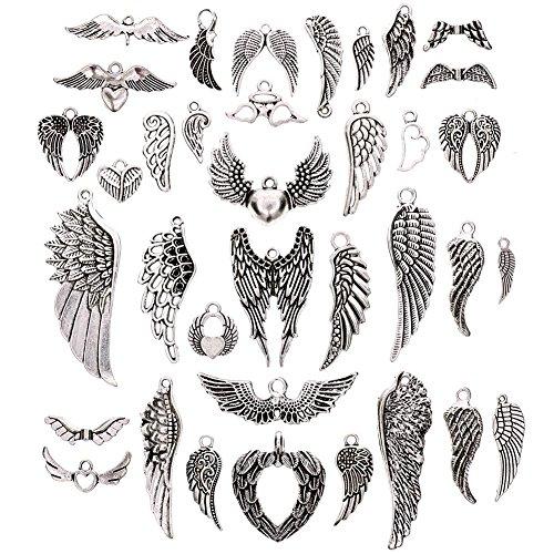 Juanya - Surtido de 36 colgantes con forma de alas de ángel chapados en plata. Estilo vintage, para hacer joyas y artesanía