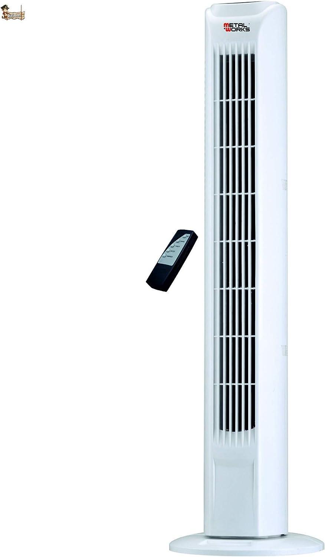 BricoLoco Ventilador torre de pie. Columna sin aspas. Digital. Con temporizador y mando a distancia. 3 velocidades. Oscilante. Bajo consumo 45W. 2.000 m3 por hora.