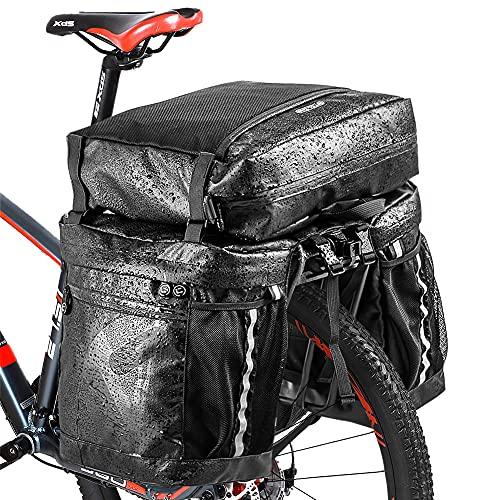 Achort Borsa Posteriore Tripla da Sella per Bicicletta 50L Impermeabile 3 in 1 Borsa per Bicicletta Multifunzione, Borsa Portapacchi da Bicicletta Posteriore, Tripla Borsa da Viaggio per Ciclismo