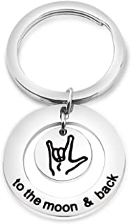 Sign Language Jewelry I Love You to The Moon and Back Keychain ASL Sign Language Gift Interpreter Gift ASL Jewelry