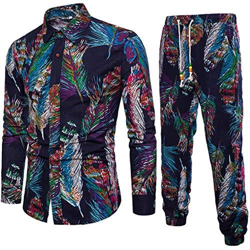 2019 Leisure Suit Men's Jogging Suit Spring Casual Tracksuits Slim Fit Long Sleeve Print Shirt Blouse +Joggers by-Leegor Dark Blue