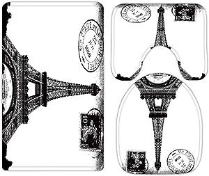 Paris Eiffel Tower France City of Love Bathroom Rugs and Mats Sets 3 Piece, Memory Foam Bath Mat, U-Shaped Contour Shower Mat Non Slip Absorbent, Velvet Toilet Lid Cover Washable