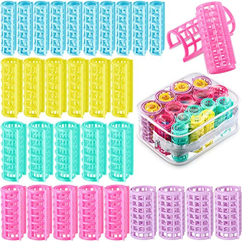 30 Pieces Plastic Hair Rollers Curlers Hairdressing Rollers for Short Hair Medium Magnetic Roller Self Holding Rollers No Heat Curlers for DIY...
