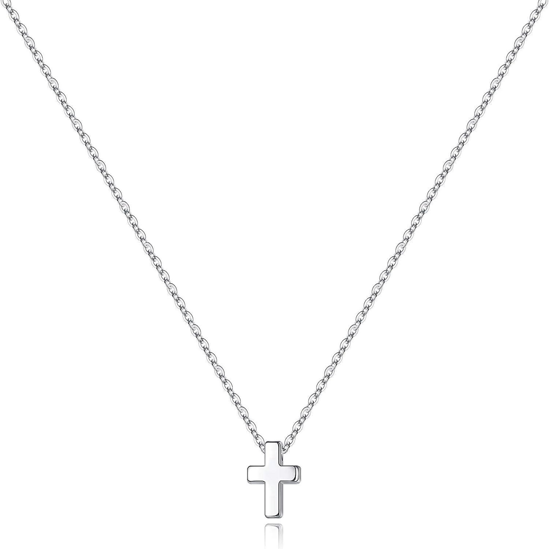 M MOOHAM Cross Necklace for Women, Dainty Gold Plated Cross Pendant Necklace Sideways Cross Choker Layered Cross Necklace for Women Girls