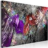 murando Cuadro en Lienzo Abstracto 90x60 cm Impresión de 1 Pieza Material Tejido no Tejido Impresión Artística Imagen Gráfica Decoracion de Pared - Amor Colorido Gris Violeta Rojo Textura a-C-0151-b-b
