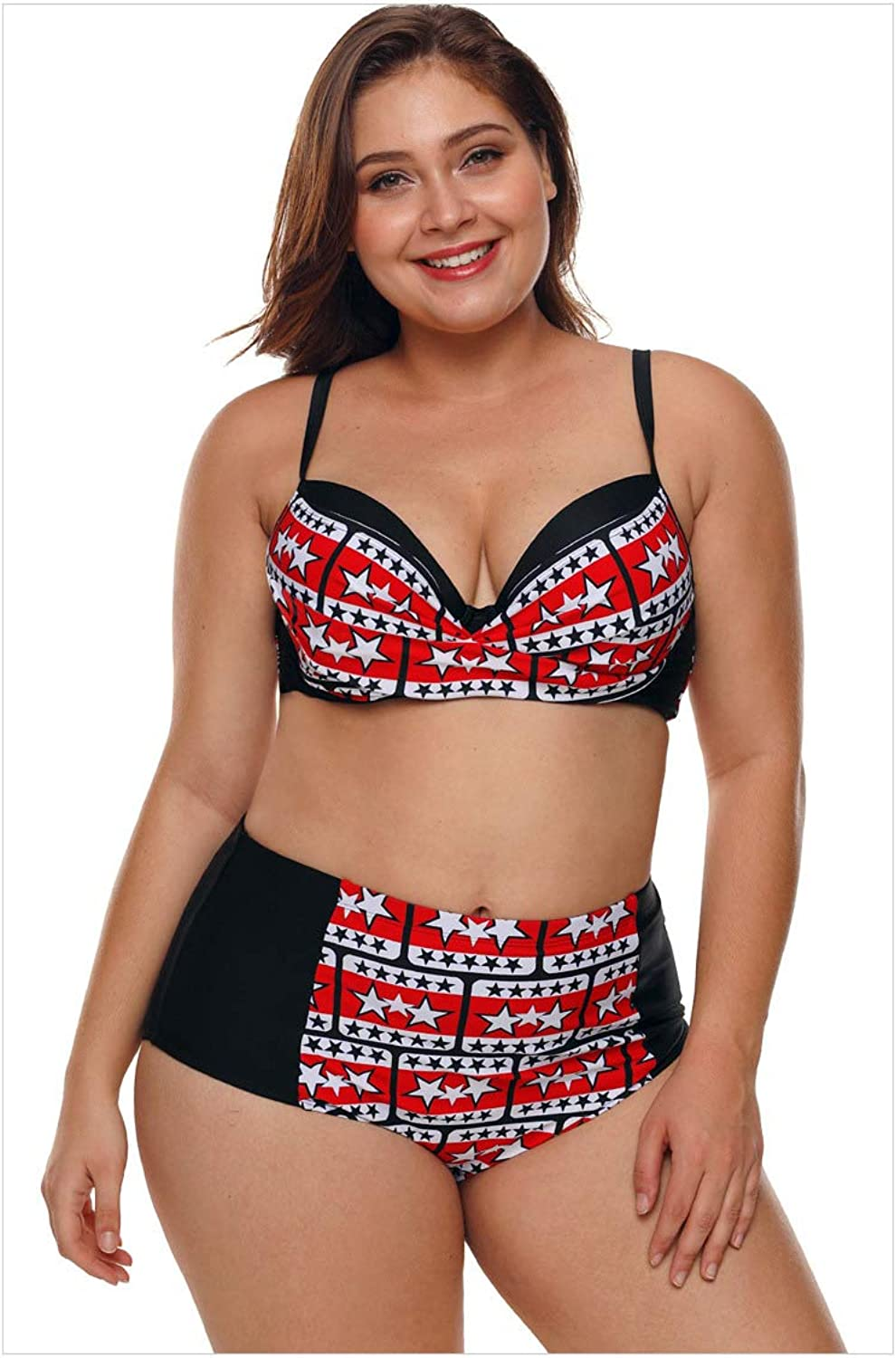 BuyBuyBuy Women's Large Size TwoPiece Swimsuit, LowCut Print with Straps and highRise TwoPiece Sexy Bikini Comfortable