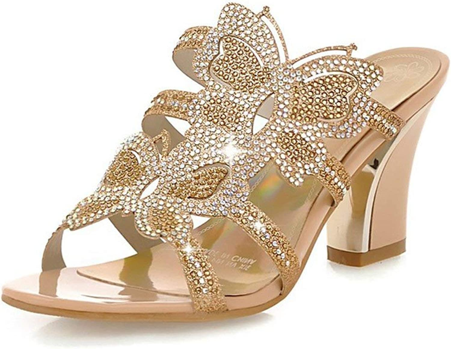Gcanwea Women's Sexy Rhinestone Butterfly Open Toe Cut Out Mules Chunky High Heel Slide Sandals Sweet Skinny Soft Antiskit Durable Girl Fashion Beige 4 M US Sandals