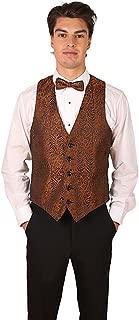 Men's Brown Tiger & Leopard Print Vest and Bow Tie Set