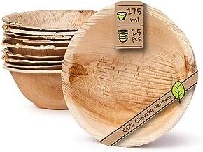 BIOZOYG Vajillas Desechables ecológicas Hechas de Hojas de Palma | 25 Piezas oja de Palma tazón Redondo 275ml ø13,5cm | ensaladera tazón tazón de Sopa tazón de Servir tazón de Aperitivos