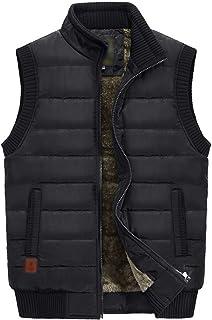 Flygo Men's Outdoor Fleece Sherpa Lined Vest Quilted Puffer Sleeveless Jacket Outwear