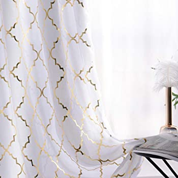 YJYANJUN White Sheer Curtains 84 inches Long Trellis Gold Foil Curtains for Living ,Bedroom Set of 2 Panles, 52 x 84 inch