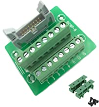 Sysly IDC16 2x8 Pins Male Header Breakout Board Terminal Block Connector with Simple DIN Rail Mounting feet