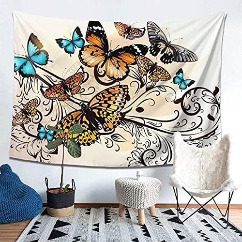 QUEMIN Hermosas Mariposas Tapiz para Colgar en la Pared, impresión en 3D, Manta, Arte de Pared para Sala de Estar, Dormitorio, decoración del hogar (80x60in)