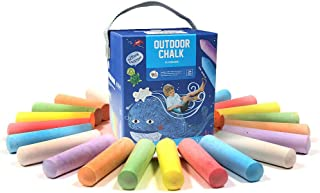 Sidewalk Chalk Set, Outdoor Side Driveway Drawing, Non-Toxic and Washable Dustless Stress Chalk, Firm Jumbo Chalk, Colorfu...