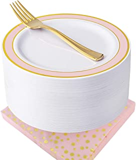 NERVURE Pink with Gold Rim Disposable Plates with Napkins Set 150 PCS: Include 50 Dessert Plates & 50 Gold Forks & 50 Napkins Wedding Party Plastic Plates,Fancy and Appetizer Plates for all Holiday.