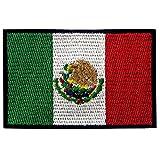 EmbTao Aufnäher Mexiko-Flagge, bestickt, mexikanische Applikation, Haken & Schlaufe, Nationalemblem