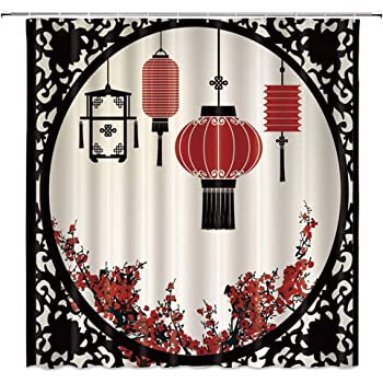 Red Black Cream Lunarable Japan Shower Curtain Young Pretty Geisha in Kimono with Sakura Traditional Oriental Costume Makeup Fabric Bathroom Decor Set with Hooks 70 inches