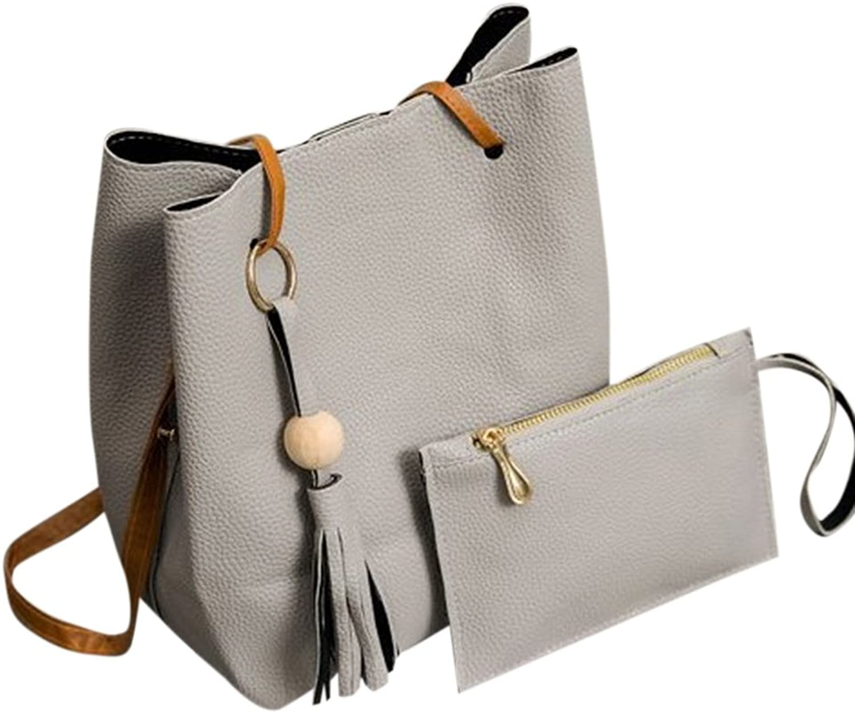 CYNDIE 2Pcs Stylish Women Allmatch PU Leather Wooden Bead Tassel Shoulder Bag Handbag Set