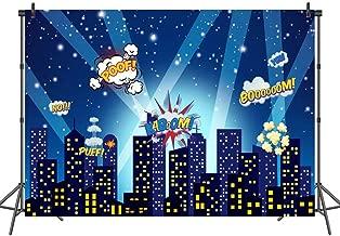 Mehofoto Superhero Backdrop Superhero City Skyline Comics Photography Background 7x5ft Superhero Party Decoration Photo Backdrops for Children Kids Birthday Baby Shower