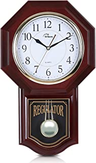WallarGe Chime Wall Clock with Pendulum, Battery Operated Schoolhouse Clocks,Chime Every Hour,12 Melodies, Regulator Clocks for Home, Study, Office or School Decoration.