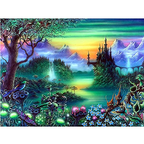 Ingzy 5D Diamond Painting Kits for Adults Fairy Tale Forest Tree Full Drill,DIY Round Rhinestone Embroidery Mosaic Art Kit for Wall Decor - Magic Forest(15.7x11.8in)
