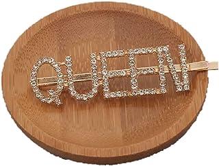 Proplady Designer Stylish Rhinestones Embellished Queen Letter Hair Pins for Girls & Women  Wedding Hair
