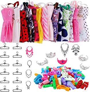 Knowoo 46 st dockkläder set dockkläder smycken skor säkerhet roligt mode docka tillbehör för flickor