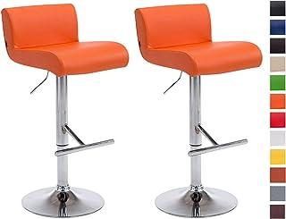 CLP Set 2 Taburetes California en Cuero PU | 2 Taburetes de Bar Regulable en Altura I 2 Sillas Altas de Bar con Asiento Giratorio | Color: Naranja