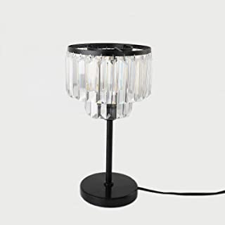 ECOBRT Crystal Table Lamps Iron Black Crystal Table Lights fixtures in Bedroom Living Room E26 Socket (Bulb Excluded)
