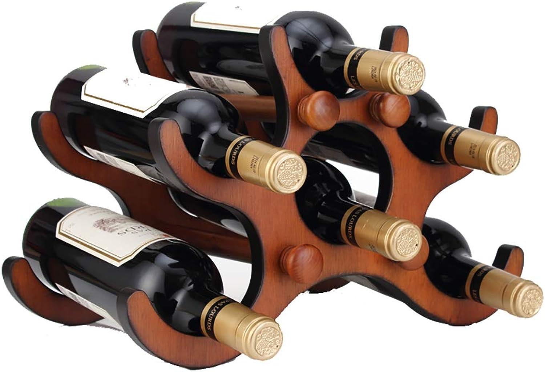 Estante de vino de parojo Soporte del estante de la botella de vino del hogar del estante del vino de la decoración del estante del vino de la madera sólida creativa (36cm  20.5cm  23.5cm) Instalació