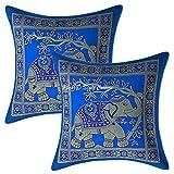Stylo Culture Étnico Seda de Brocado Elefante Sofá Decorativo Fundas de Cojines 30x30 Oro Turquesa Almohadones Originales 12 x 12 Cuadrantes Tradicional Decoración del hogar (Conjunto De 2)