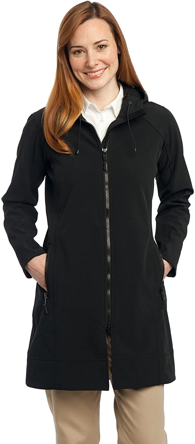 Port Authority Women's Long Textured Hooded Soft Shell Jacket