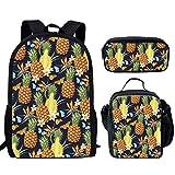 HUGS IDEA - Bolsa de viaje impermeable con estuche para el almuerzo, diseño de piña tropical