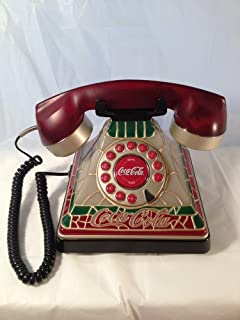 Coca Cola Desk Top Telephone - Coke Phone Push Button Dialing Technology - Corded Connection - Mosaic Stain Glass Design - Tiffany Style Body - Retro Vintage Look
