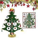 JUNMEIDO Árbol de Navidad de Madera 30CM Árbol de Navidad de Escritorio Arbolitos de Navidad Pequeños Decorados con Adornos de Madera en Miniatura para Mesa Escaparate Regalo para Niño- Verde