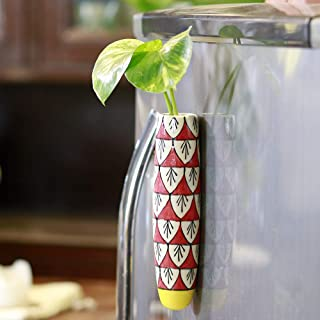 Lazy Gardener Magnetic Hydroponic Planter with Cleaning Brush | Unique Ceramic Fridge Magnet - Handmade, Handpainted - Red...