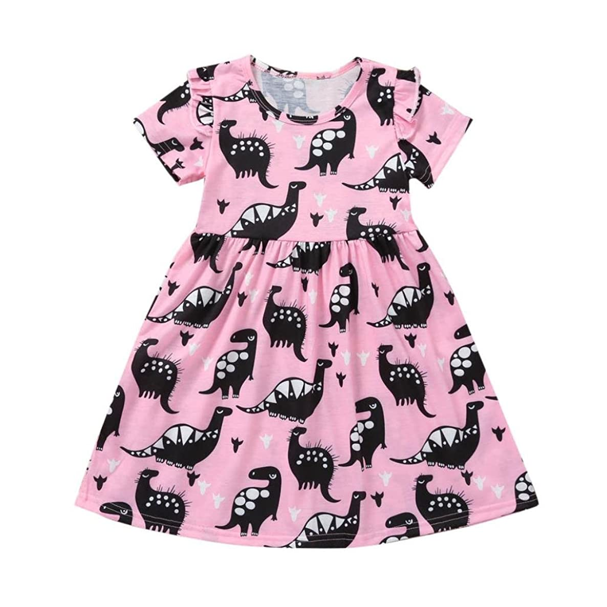 Boomboom Baby Girl Short Sleeve Dinosaur Printing Party Clothes Dress