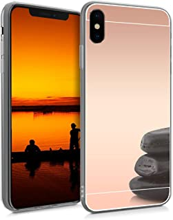 kwmobile Mirror Case for Apple iPhone Xs Max - TPU Silicone Bumper Protective Cover Reflective Back Case - Rose Gold Reflective