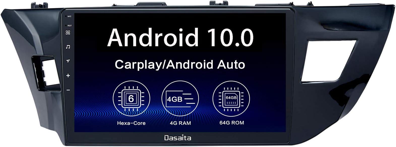 "Dasaita 10.2"" Android 10 Radio for Toyota Corolla 2014 2015 2016 bluetooth Stereo GPS Navigation PX6 DSP Android Auto Head Unit Wireless Carplay 1280 x 720 HD"