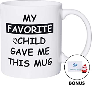 Birthday Christmas Gifts for Mom Mug My Favorite Child Gave Me This Funny Coffee Mug Dad Mom Gifts from Daughter Son 11oz White Coffee Cup for Women Men, Bonus Pendant & Card