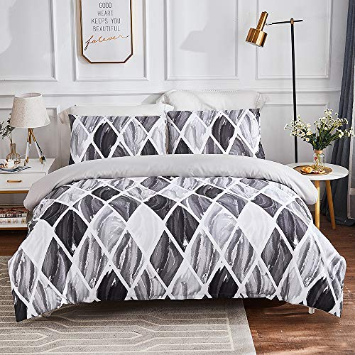 Sisher Modern Geometric Duvet Cover Set Double Size Brushed Microfiber Bedding Grey Soft Quilt Cover with Zipper Closure and Easy Care Hotel Quality Comforter Cover 200x200cm