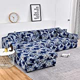 WXQY Funda de sofá con Estampado Floral, Esquina de Asiento, sofá Chaise Longue en Forma de L, Funda de sofá elástica, Funda de sillón A19, 2 plazas