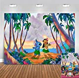 Cartoon Lilo and Stitch Summer Beach Photo Background 7x5ft Polyester Tropical Luau Hawaiian Children Birthday Party Banner Photography Backdrop Baby Shower Photo Booths Cake Smash Supplies