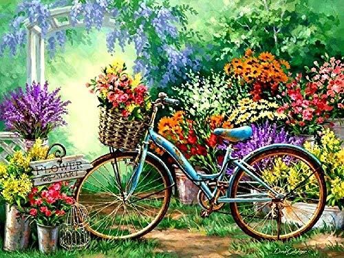 Rompecabezas Adultos 1000 Piezas,Puzzle Rompecabezas para Niños, Juguete De Regalo Ideal, La Mejor Decoración para El Hogar De Bricolaje-Bicicleta de jardín de flores