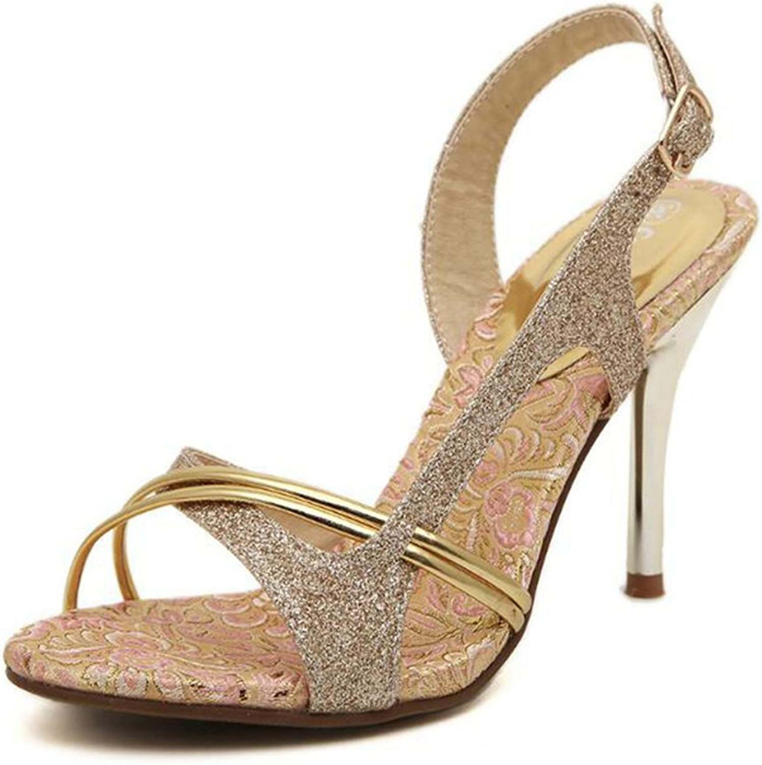 Womens Sandals Summer High Heeled shoes gold Stiletto Open Toe Buckle Sandal