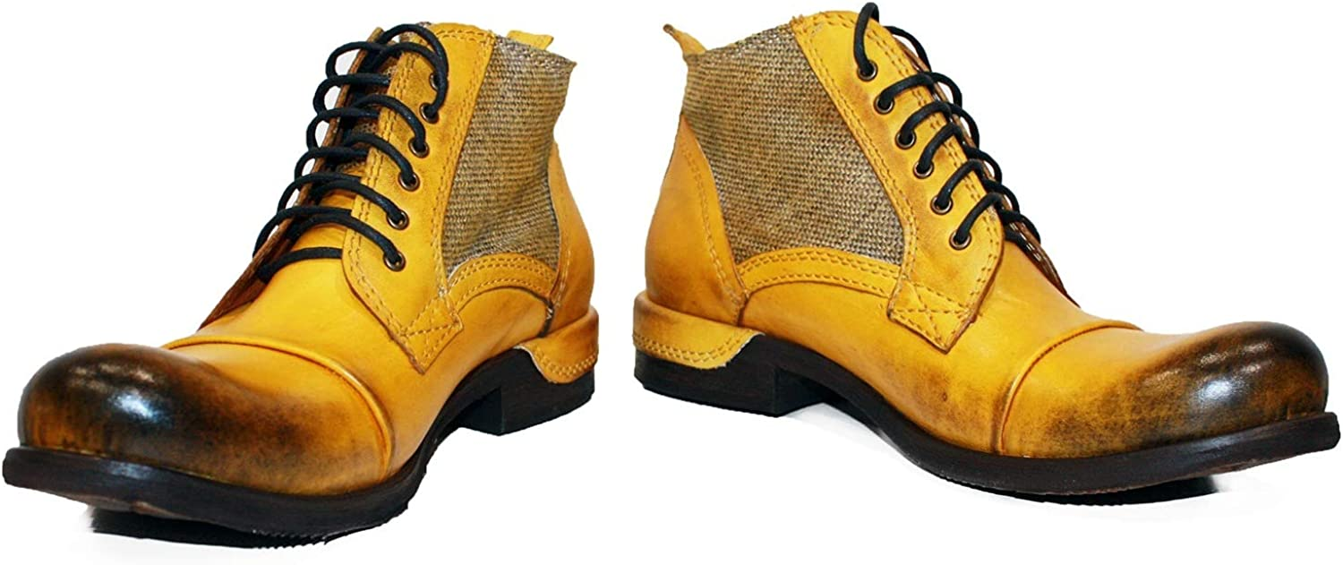 Peppeshoes Modello Buecello - Handmade Italian Leather Mens color Yellow Ankle Boots - Cowhide Hand Painted Leather - Lace-Up